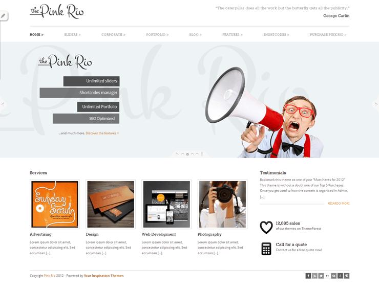 PinkRio Tema WordPress FREE minimal e responsive 01
