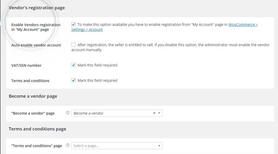 Vendor's registration page